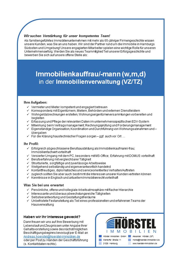 Aktuelle Stellenangebote Horstel Immobilien